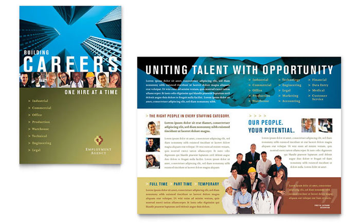 Employment Agency & Jobs Fair Brochure Template - Word & Publisher