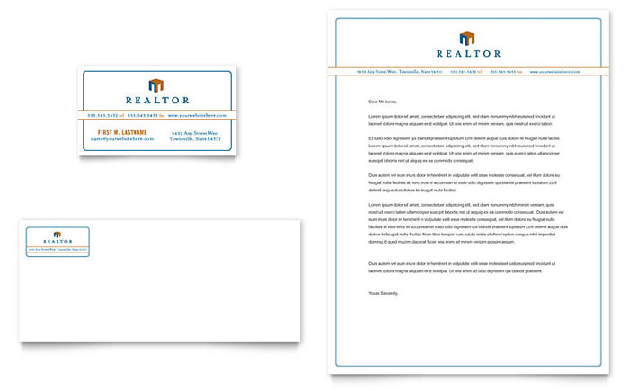 Real Estate Agent Business Card & Letterhead Template - Word & Publisher