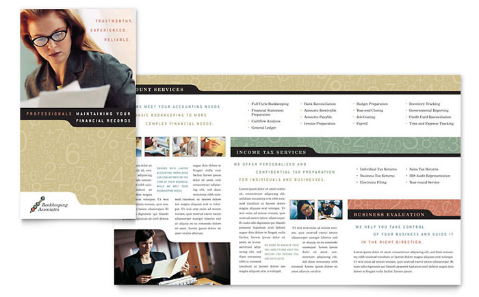 Bookkeeping & Accounting Services Brochure Template - Word & Publisher