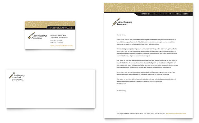 Bookkeeping & Accounting Services Business Card & Letterhead Template - Word & Publisher