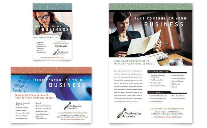 Bookkeeping & Accounting Services Flyer & Ad - Word Template & Publisher Template