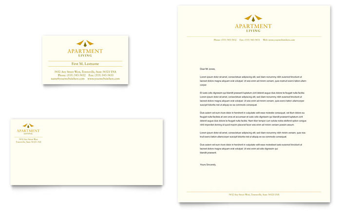 Apartment Living Business Card Amp Letterhead Template