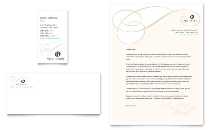 Apartment & Condominium Business Card & Letterhead Template - Word & Publisher