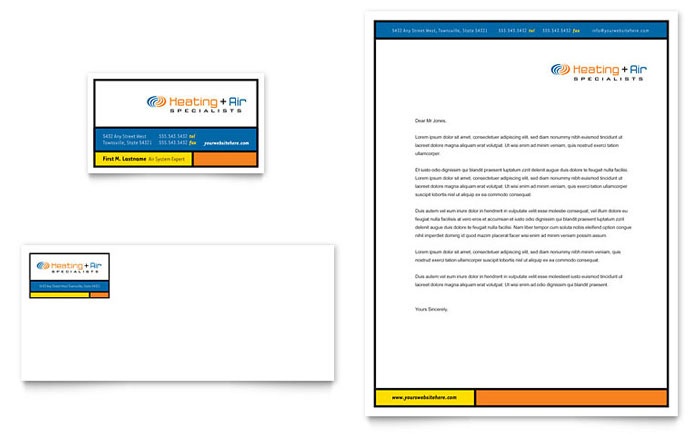 Heating & Air Conditioning Business Card & Letterhead Template