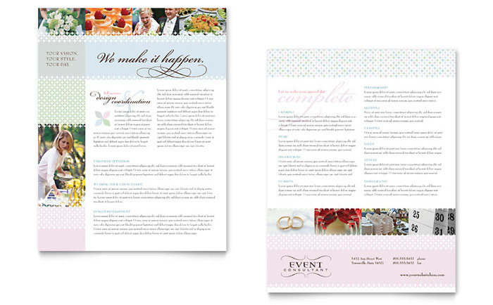 Wedding event planning datasheet template word publisher for Event program template publisher
