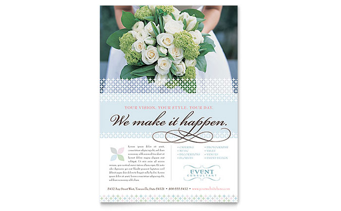 Wedding event planning flyer template word publisher for Event program template publisher