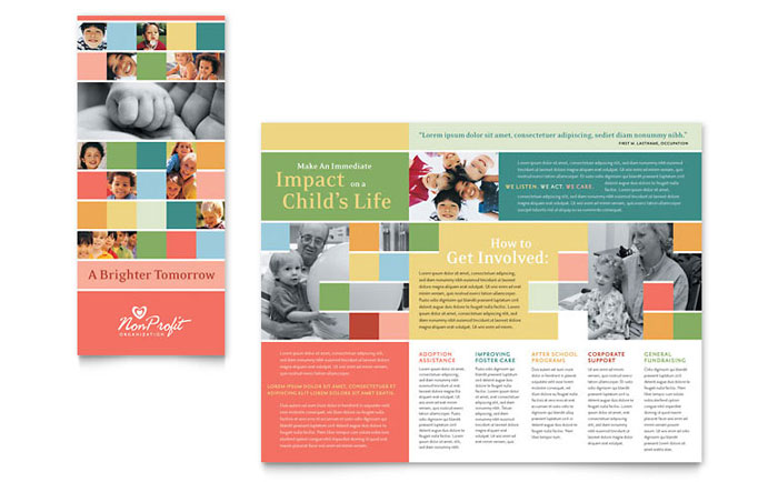 Non profit association for children brochure template for Brochure template for kids