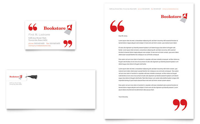 Bookstore & Library Business Card & Letterhead Template - Word & Publisher