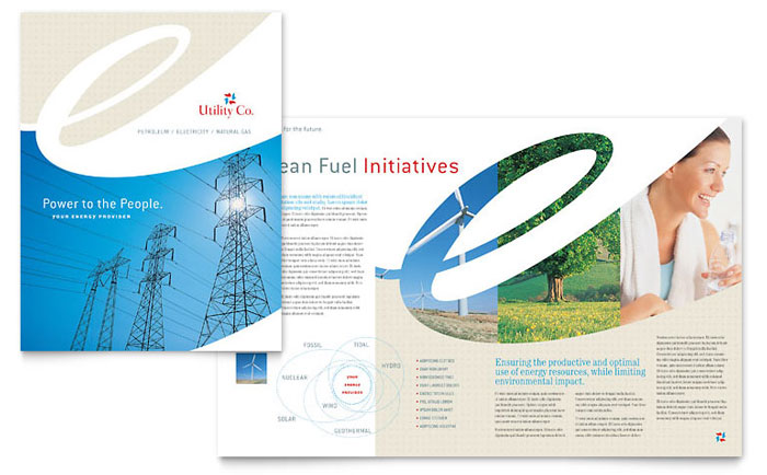 Utility Amp Energy Company Brochure Template Word Amp Publisher