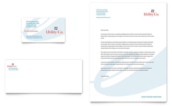 Utility & Energy Company Business Card & Letterhead Template - Word & Publisher