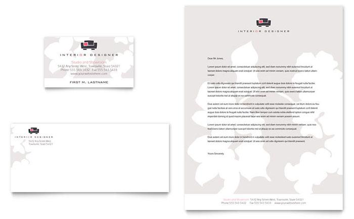 interior designer business card  u0026 letterhead template