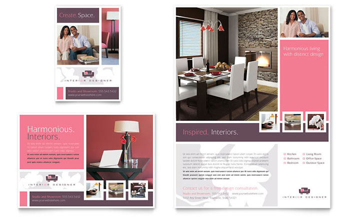 Interior designer flyer ad template word publisher for Interior design layout templates
