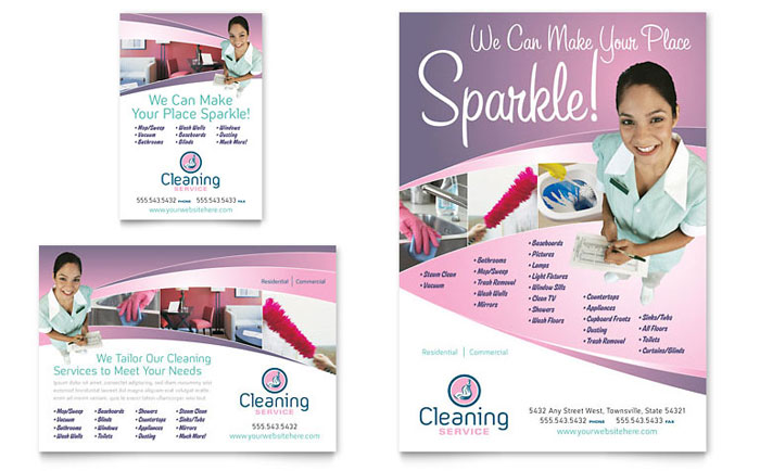 House Cleaning & Maid Services Flyer & Ad - Word Template & Publisher Template