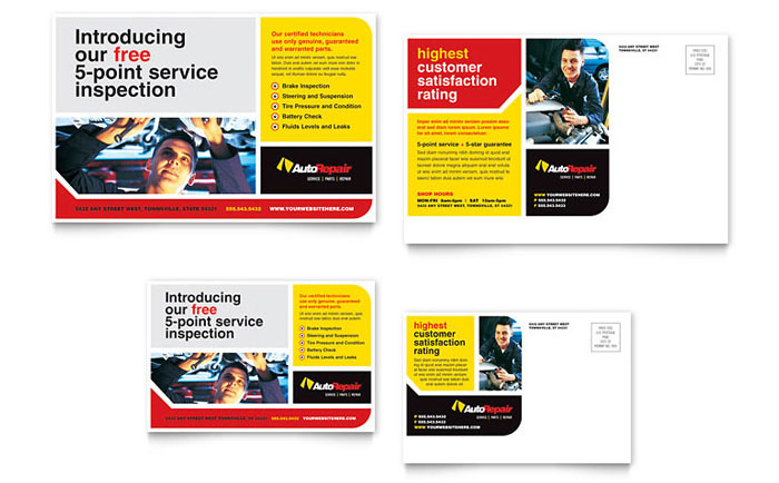 Auto Repair Postcard Template Word Amp Publisher