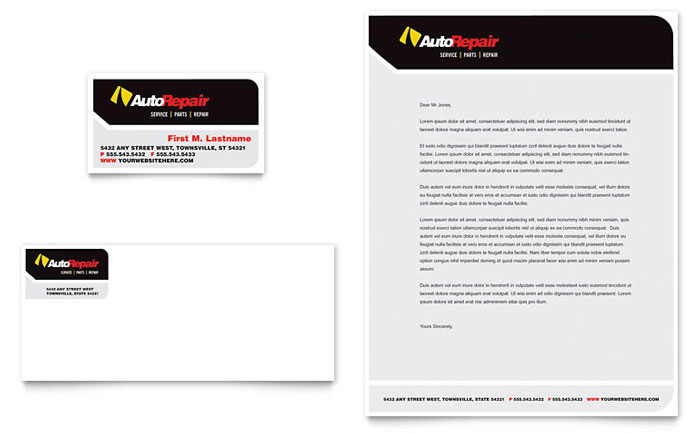 Auto Repair Business Card & Letterhead Template - Word & Publisher