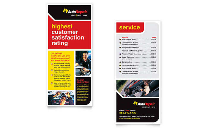 Auto repair rack card template word publisher for Rack card template for word