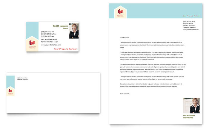 Home Real Estate Business Card & Letterhead Template - Word & Publisher