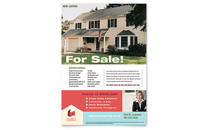 Home Real Estate Flyer Template - Word & Publisher