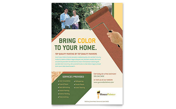 painter  u0026 painting contractor flyer template