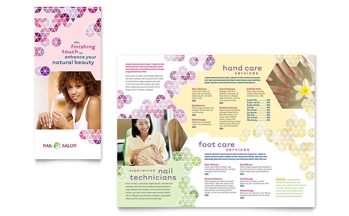 Nail salon brochure template word publisher for Spa brochure templates