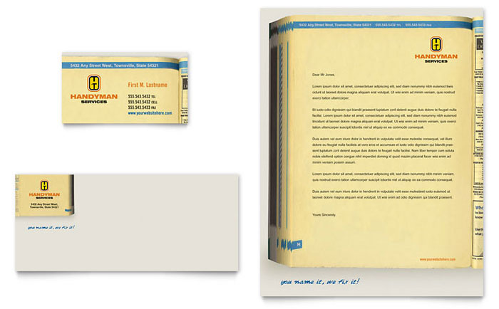 Home Repair Services Business Card & Letterhead Template - Word & Publisher