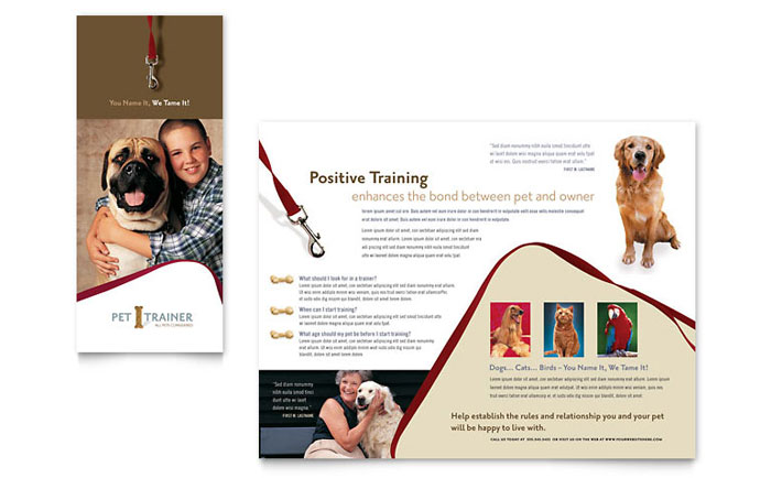 workshop brochure template - pet training dog walking brochure template word