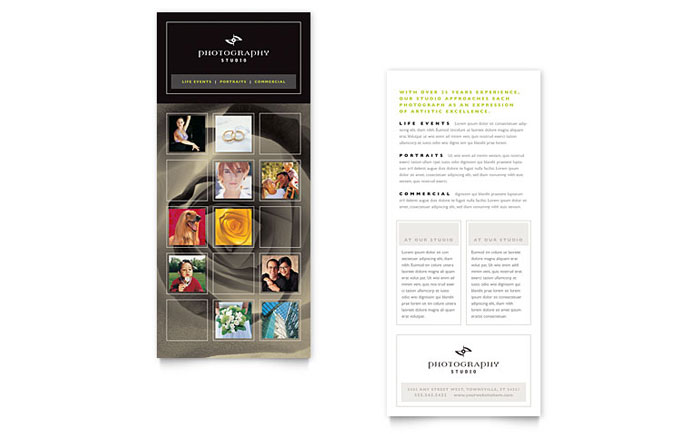 Photography studio rack card template word publisher for Rack card template for word
