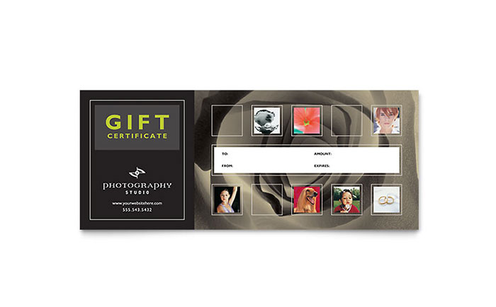 Photography Studio Gift Certificate Template - Word & Publisher