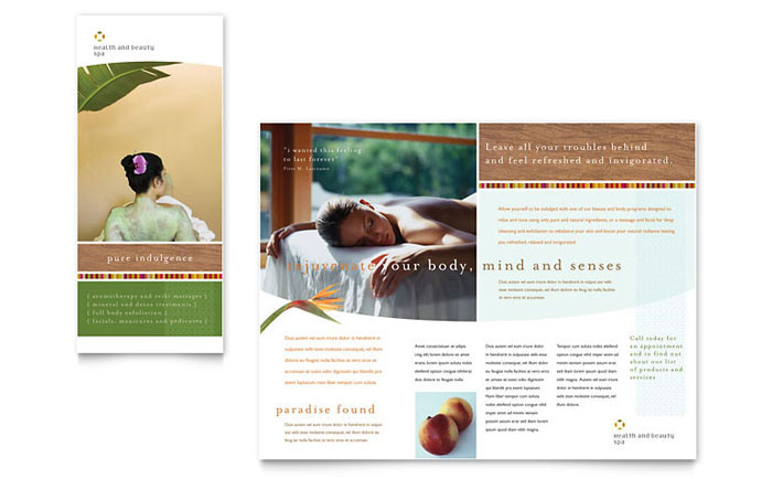 Health Spa Brochure Templates Word Publisher – Health Brochure Template