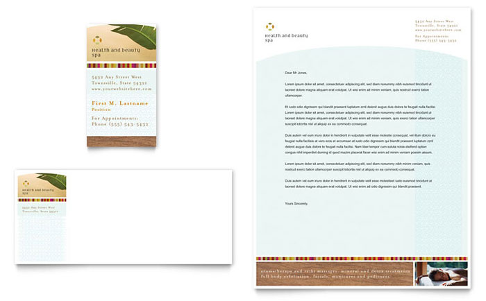 Health & Beauty Spa Business Card & Letterhead Template - Word & Publisher