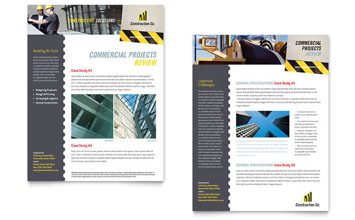 Industrial & Commercial Construction Datasheet Template - Word & Publisher