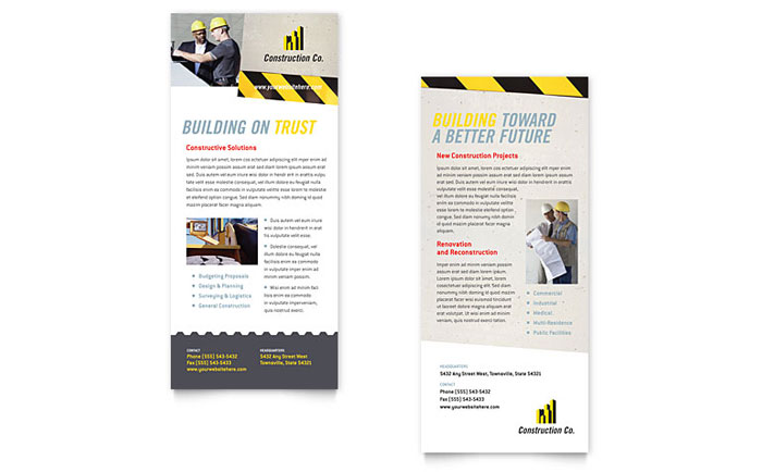 Industrial commercial construction rack card template for Rack card template for word