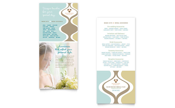 Wedding Store & Supplies Rack Card Template - Word & Publisher