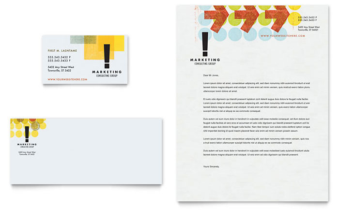 Marketing Consultant Business Card & Letterhead Template - Word & Publisher