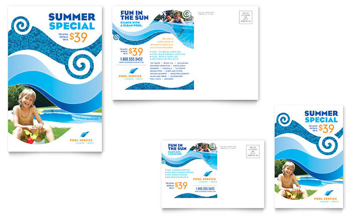 Swimming Pool Cleaning Service Postcard Template Word