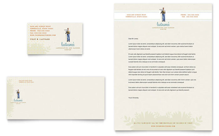 Landscape & Garden Store Business Card & Letterhead Template - Word & Publisher