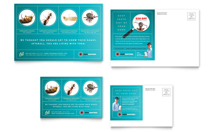 Pest Control Services Postcard Template Word Publisher – Postcard Template Word