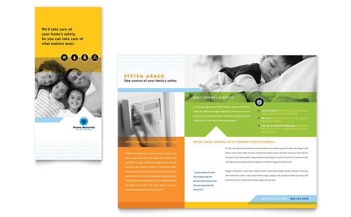 Home Security Systems Brochure Template - Word & Publisher