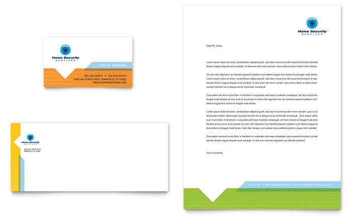 Home Security Systems Business Card & Letterhead Template - Word & Publisher