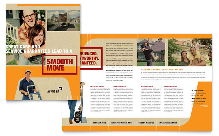Movers moving company brochure template word publisher for 11x17 half fold brochure template