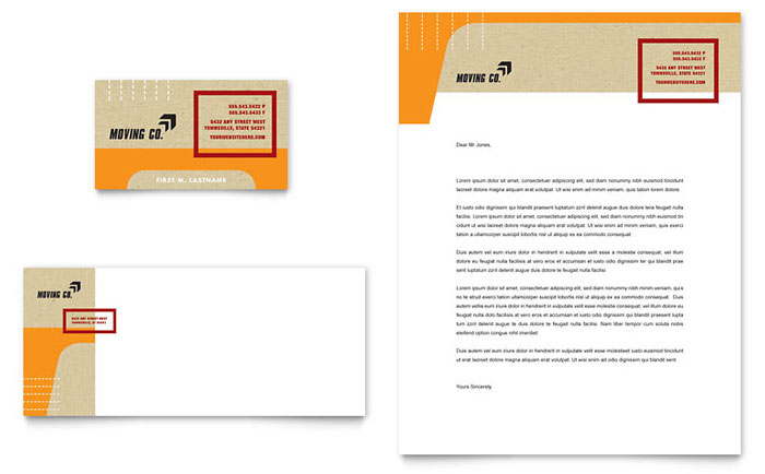 Movers & Moving Company Business Card & Letterhead Template - Word & Publisher