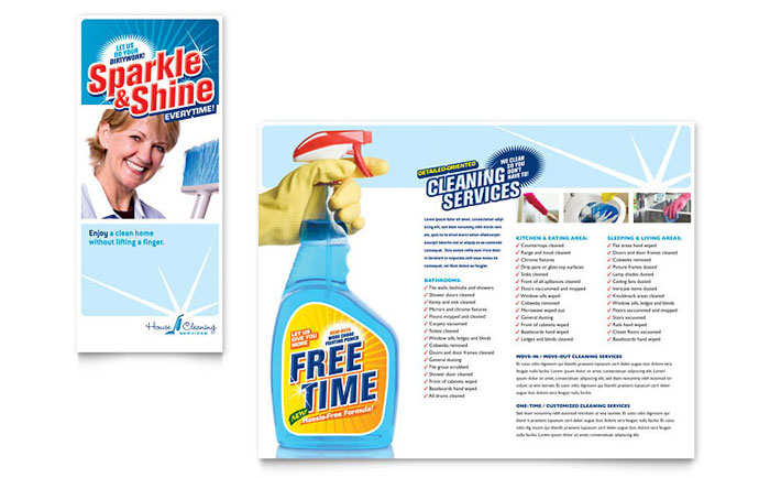 House Cleaning amp Housekeeping Brochure Template Word