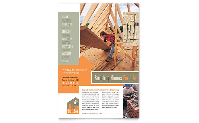 Home Building Carpentry Flyer Template - Word & Publisher