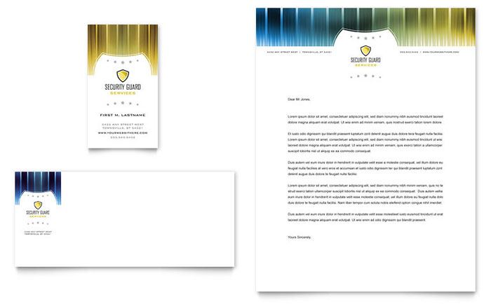 Security Guard Business Card u0026 Letterhead Template - Word u0026 Publisher