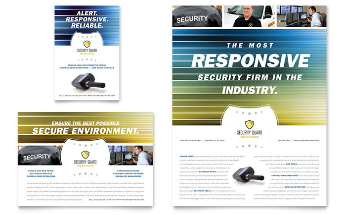 Security Guard Flyer & Ad Template - Word & Publisher