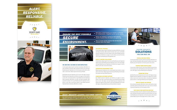 Security Guard Tri Fold Brochure Template Word Amp Publisher
