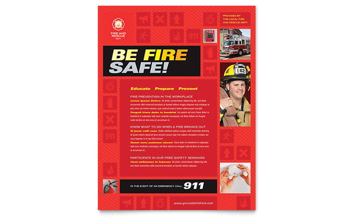 Fire Safety Flyer Template - Word & Publisher