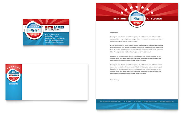 Political candidate business card letterhead template for Political brochure templates