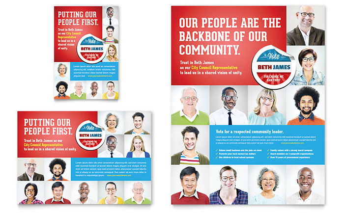 Political Candidate Flyer & Ad Template - Word & Publisher