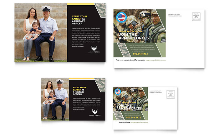 Military Postcard Template - Word & Publisher